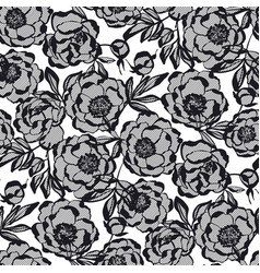 Lace style peony flowers seamless pattern vector