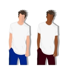 male t shirt realistically painted T vector image