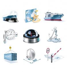 Marine transportation icons vector