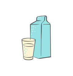 milk carton and glass - simple hand drawn doodle vector image