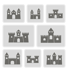 monochrome icons with different castles vector image