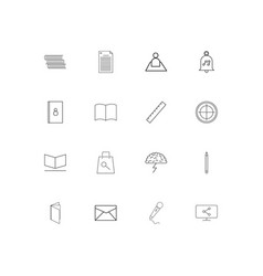 Office simple linear icons set outlined icons vector