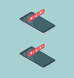 Phones with notification of a lot of likes vector