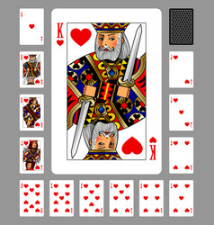 playing cards of hearts suit and back on green vector image