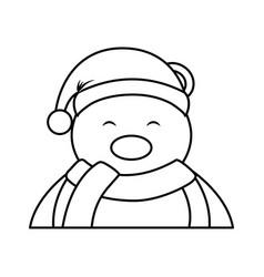 Polar bear with winter hat vector