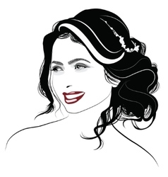 Portrait of a girl with long hair vector image