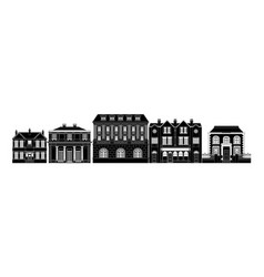 Posh smart row buildings vector