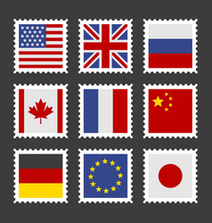 Postage stamps set with different country flags vector