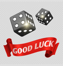 Realistic casino dice and red good luck banner vector