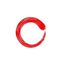 Red circle zen enso ink watercolor logo icon vector