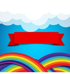Red ribbon banner on rainbow clound and sky vector