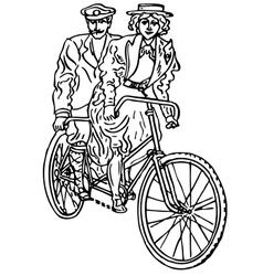 Retro tandem bicycle vector