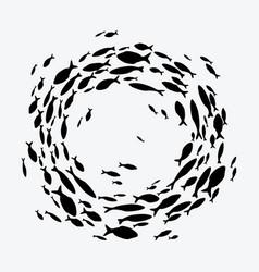 school fish a group silhouette fish swim in vector image