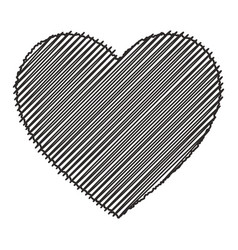 scribbled black heart isolated vector image