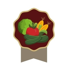 Seal stamp with vegetable icon vector