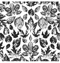 Seamless autumn pattern with leaves hand drawn vector