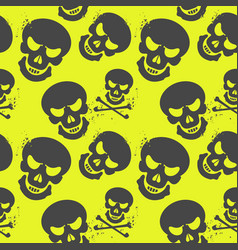seamless pattern with skulls on neon background vector image