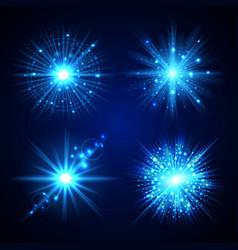 set blue flash stars vector image