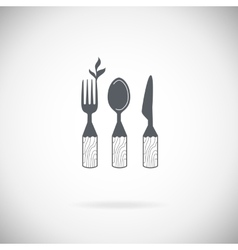 Set cutlery icons vector image