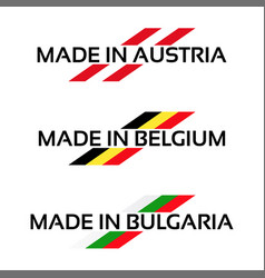 set logos made in austria made in belgium vector image