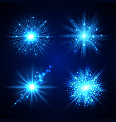 set of blue flash stars vector image