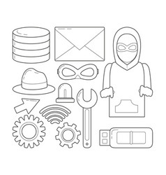 set of cyber security symbols vector image