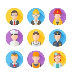 Set of flat portraits icons with people vector image