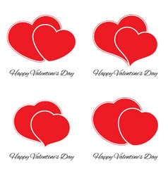 set of four big and small red hearts vector image