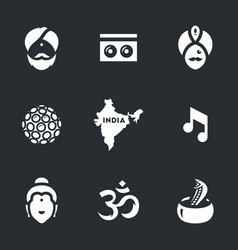 Set of india symbols icons vector