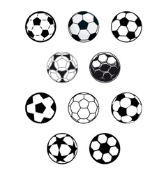Set of soccer or football balls vector image