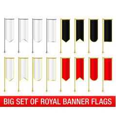 Set of vertical royal banner flags vector