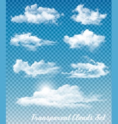 set white clouds on a transparent sky vector image