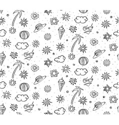 Sketch monochrome summer rest seamless pattern vector