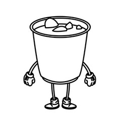 soup ramen food japanese cartoon character outline vector image