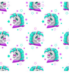 stylish seamless pattern with cute cartoon pony vector image