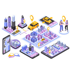 Taxi navigation isometric set vector