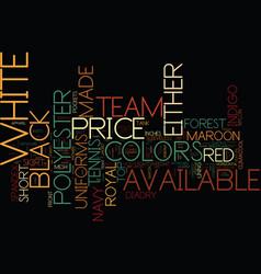 Tennis team uniforms text background word cloud vector