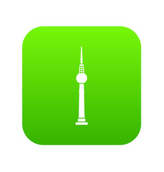 Tower icon digital green vector
