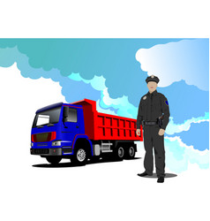 truck red-blue lorry and policeman vector image