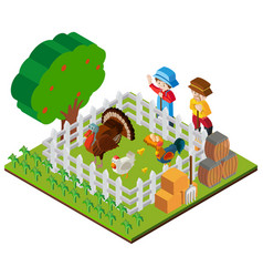 two farmers and chickens in the farm vector image