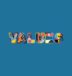 Values concept word art vector