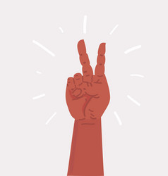 victory hand sign hand showing two finger vector image