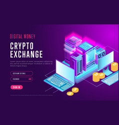 Web design of page for crypto exchange vector
