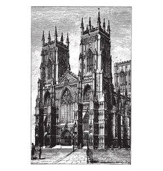West Front Of York Minster Or Gothic Cathedral Vector Image