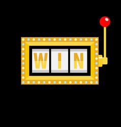 Win text slot machine golden glowing lamp light vector