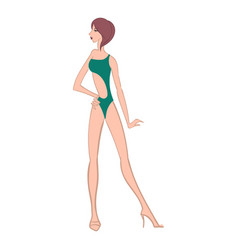 young beautiful girl posing with hand on hip vector image
