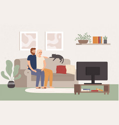 young couple watch tv together happy man and vector image