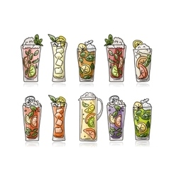 Cocktails collection sketch for your design vector image vector image