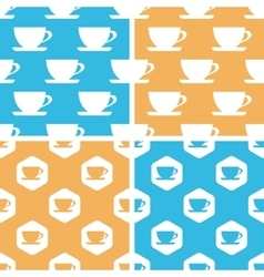 Cup pattern set colored vector image
