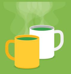 tea cups with smoke flat vector image